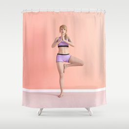 Tree Yoga Pose Female Woman Demonstration Concept Shower Curtain