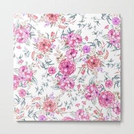 Modern Bohemian pink coral lavender watercolor flowers Metal Print