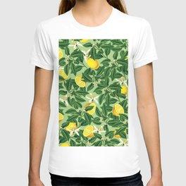 Lemonade Garden, Green Fresh Lemon Botanical Illustration, Vibrant Summer Tropical Fruit Nature T-shirt