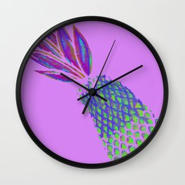 Neon Pineapple Punch on textured pink Wall Clock