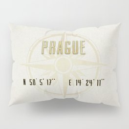 Prague - Vintage Map and Location Pillow Sham