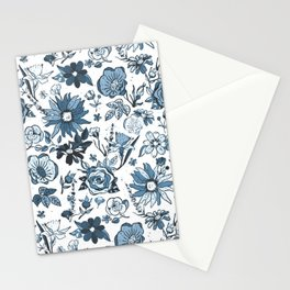 Teal Blue & White Garden Chintz Stationery Cards