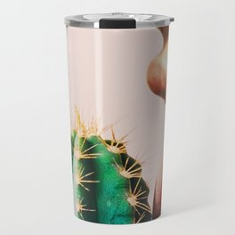 Cacti, Girl, Lips, Cactus decor, Pastel, Plant, Pink, Minimal, Interior, Wall art Travel Mug