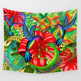 The Lizard, The Hummingbird and The Hibiscus Wall Tapestry