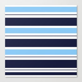 Blue Navy and Turquoise Stripes Canvas Print