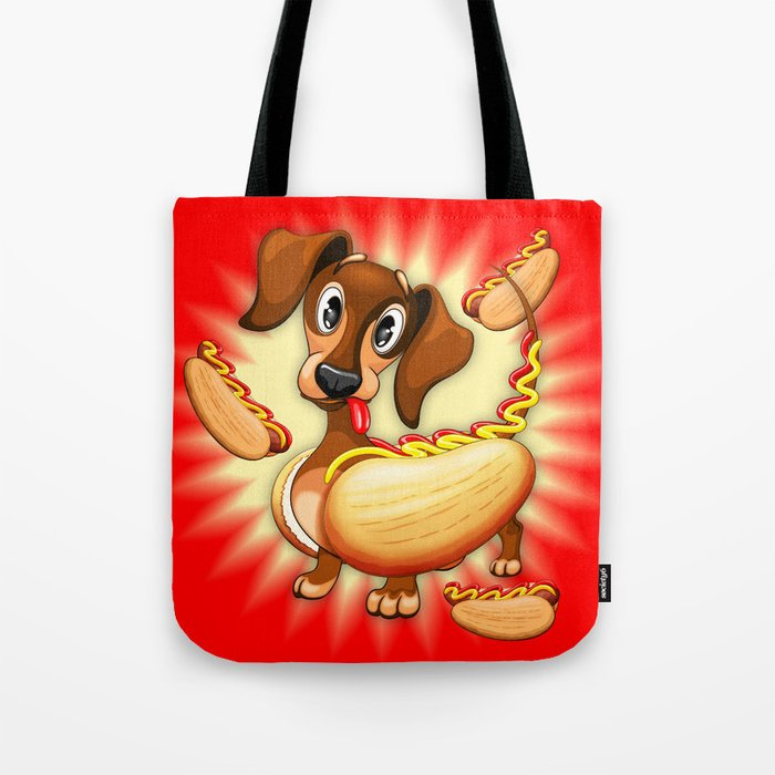 Dachshund Hot Dog Cute and Funny Character Tote Bag