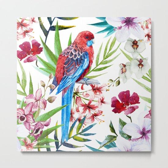 Tropical Bird Pattern 05 Metal Print