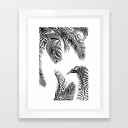 Black palm tree leaves pattern Framed Art Print