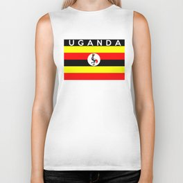 uganda country flag name text Biker Tank
