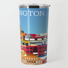 Burlington, Vermont - Skyline Illustration by Loose Petals Travel Mug