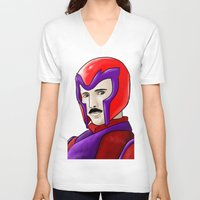 magneto V-neck T-shirts featuring Magneto Tesla by Aghko