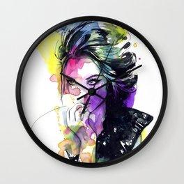 Milla fashion portrait girl watercolor tye and dye face Wall Clock