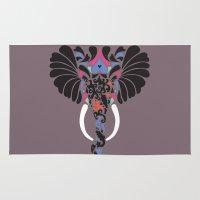 asian Area & Throw Rugs featuring Asian Elephant by Paula McGloin