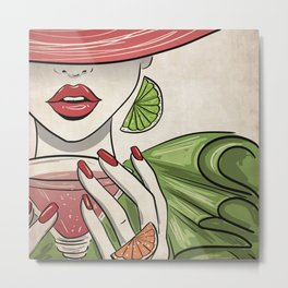 Citrus Martini Please - Kitschy Glam Girl with Her Cocktail Metal Print