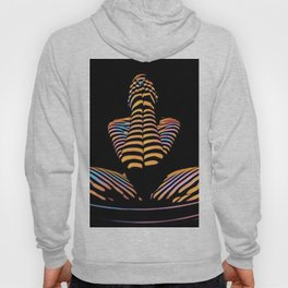 1183s-MAK Nude Abstract Striped Zebra Woman Hands Over Face by Chris Maher Hoody