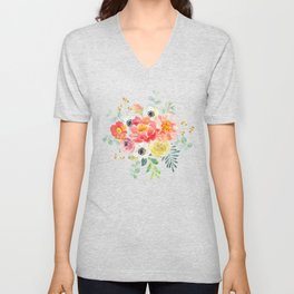 Watercolor bouquets with pink flowers Unisex V-Neck