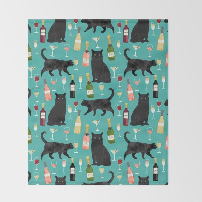 Black cat wine champagne cocktails cat breeds cat lover pattern art print Throw Blanket