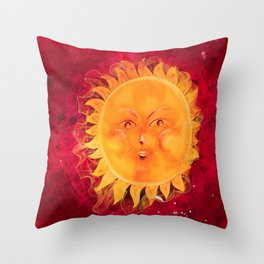 Digital painting of a chubby sun with a funny face Throw Pillow