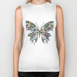 Butterfly Digital Drawing Biker Tank