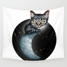 CAT ON THE MOON Wall Tapestry