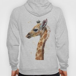 Giraffe Watercolor Cute Baby Animals Hoody