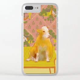 Farm Animals in Chairs #1 Cow Clear iPhone Case