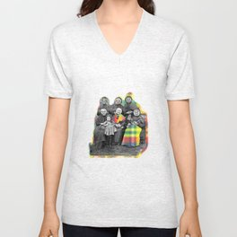 THE SIX GRANDMOTHERS IN PIXELATED PLAID Unisex V-Neck