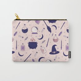 Pink Witch Pattern Carry-All Pouch