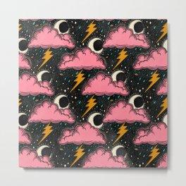 Stormy Night - black & pink Metal Print