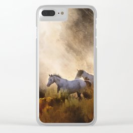 Horses in a Golden Meadow by Georgia M Baker Clear iPhone Case