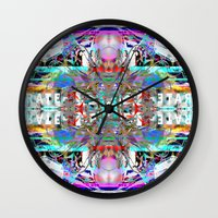 rave Wall Clocks featuring RATE RAVE by Riot Clothing