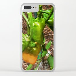 Green bell pepper hanging on tree Clear iPhone Case