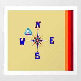 A Nautical Compass Rose with Ship Art Print
