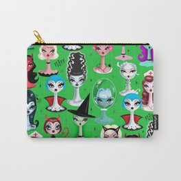 Spooky Dolls on Green Carry-All Pouch