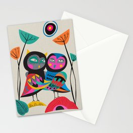 Owls hugging Stationery Cards