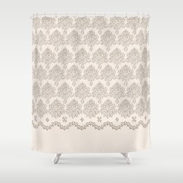 "Damask ""Cafe au Lait"" Chenille with Lacy Edge Shower Curtain"