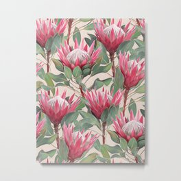 Painted King Proteas on cream Metal Print