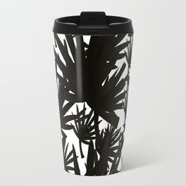 Modern black white abstract tropical leaves pattern Travel Mug