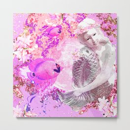 MERMAID ADVENTURE IN PINK Metal Print