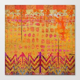 Gold and Orange Dot Abstract Art Collage Canvas Print