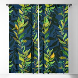 Blue and Green Seaweed Pattern Blackout Curtain