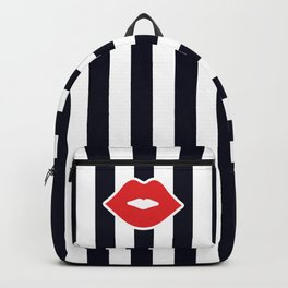 Red Lips with Stripes Backpack