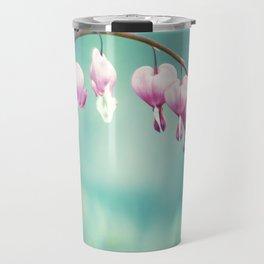 Bleeding Heart Flower Photography, Teal Pink Floral Photo, Turquoise Aqua Hearts Print Travel Mug