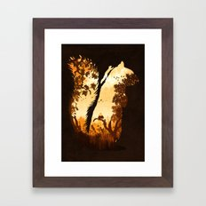 Squirrels in the Fall Framed Art Print