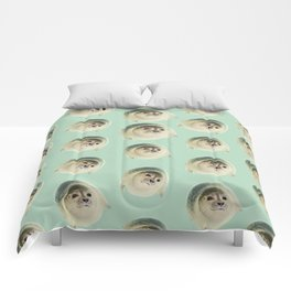 aqua green underwater cute baby sea lion seal Comforters