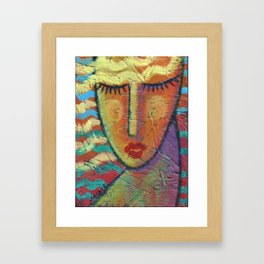 Abstract Blonde Acrylic Painting on OSB Board Framed Art Print