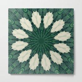 Tropical Sacramento Green and Silver Leaf Mandala Metal Print