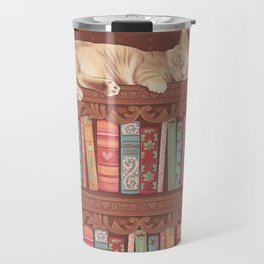 Cat in the library Travel Mug