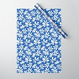 Retro Blooms Blue Wrapping Paper