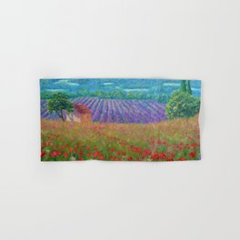 Province, France rolling hills of poppies and lavender fields floral landscape painting Hand & Bath Towel